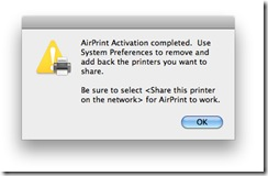 AirPrint Activator Share Printer